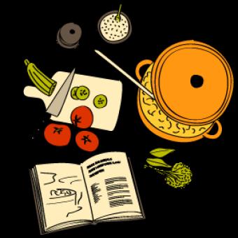 Dos de cabillaud en crumble d'olives noires et noisettes, mousseline de butternut, spaghettis à l'encre de seiche